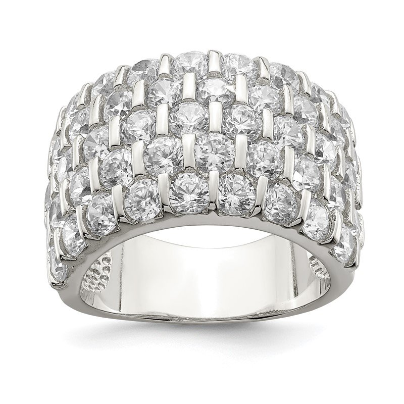 Quality Gold Sterling Silver CZ Wide Band Ring