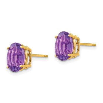 14k 9x7mm Oval Amethyst Earrings
