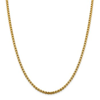 14k 3.6mm Semi-Solid Round Box Chain