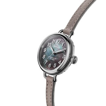 Watch: Birdy 3H 34mm, MOP Heather Gray Leather Strap