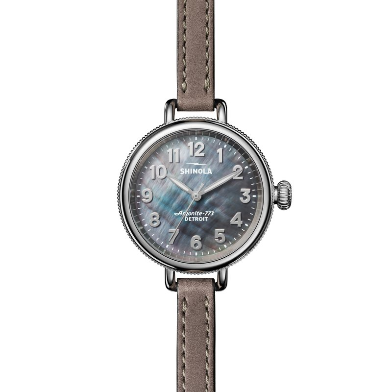 Shinola Watch: Birdy 3H 34mm, MOP Heather Gray Leather Strap