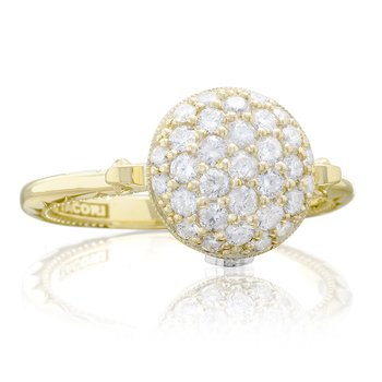 Pavé Dew Drop Ring in Yellow Gold with Diamonds