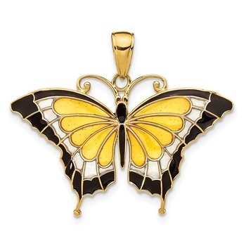 14K Yellow Enameled Butterfly Pendant