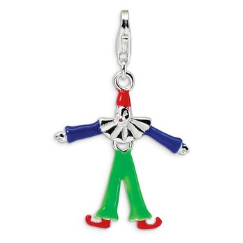 Sterling Silver Enamel Clown w/Lobster Clasp Charm