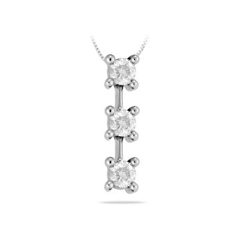 14K WG Diamond Three Stone Pendant
