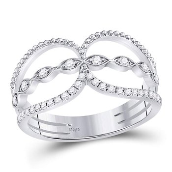 14kt White Gold Womens Round Diamond Beaded Double Lasso Band Ring 1/4 Cttw