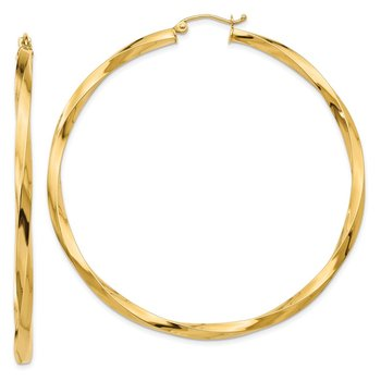 14k Polished 3mm Twisted Hoop Earrings