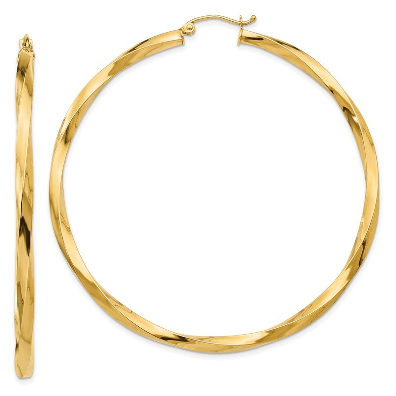 Quality Gold 14k Polished 3mm Twisted Hoop Earrings