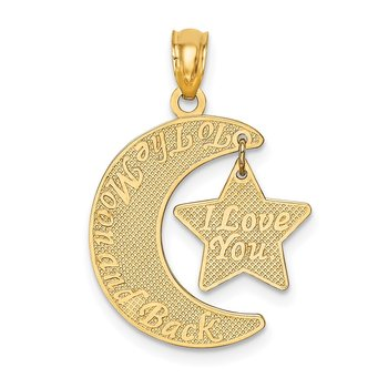 14k I LOVE YOU TO THE MOON AND BACK Moon and Star Pendant