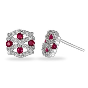 14K WG Diamond and Ruby Earring