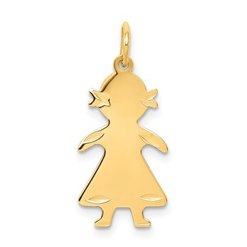 14k .018 Depth Engravable Girl Charm