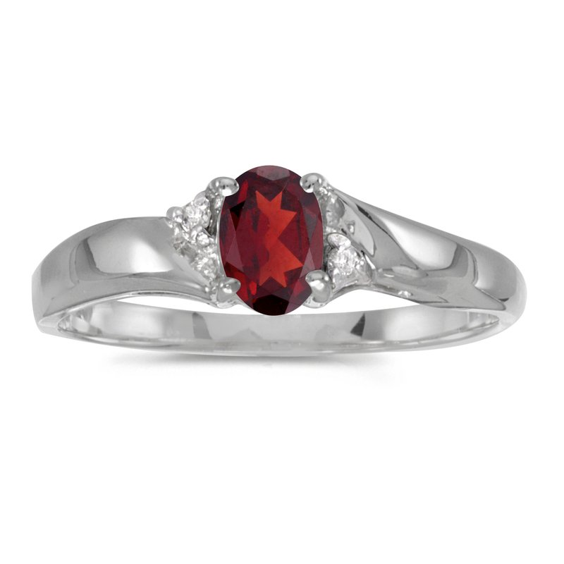 Color Merchants Sterling Silver Oval Garnet And Diamond Ring