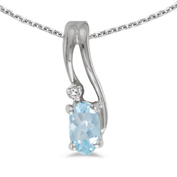 14k White Gold Oval Aquamarine And Diamond Wave Pendant