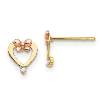 14k Madi K Yellow & Rose Gold CZ Heart Post Earrings