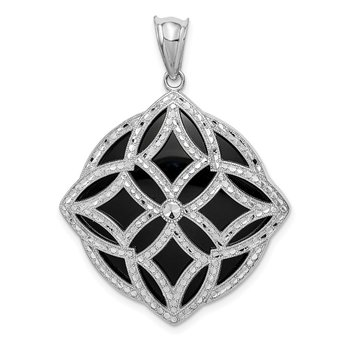 Sterling Silver Rhodium-plated Fancy Diamond Cut Onyx Pendant