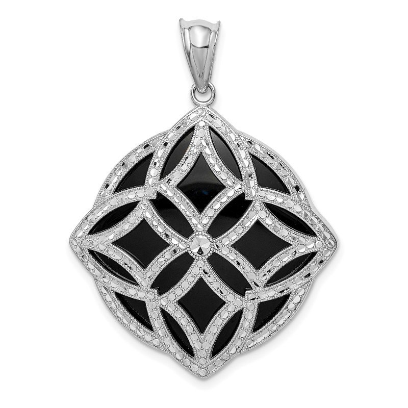 Quality Gold Sterling Silver Rhodium-plated Fancy Diamond Cut Onyx Pendant