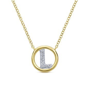 "14K Yellow Gold Diamond ""L"" Initial Necklace"
