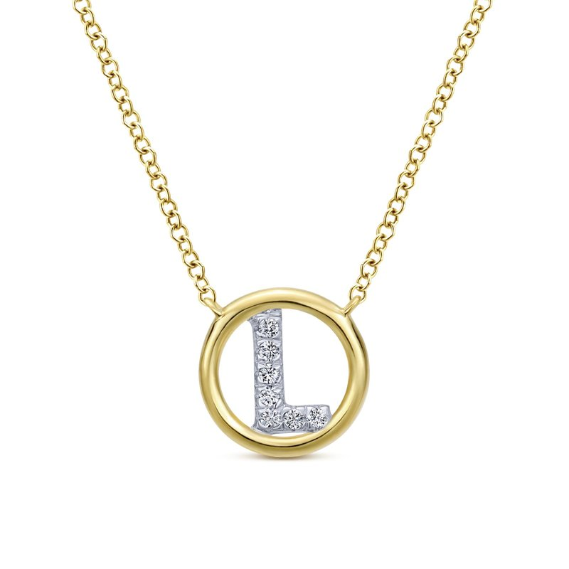 "Amavida 14K Yellow Gold Diamond ""L"" Initial Necklace"