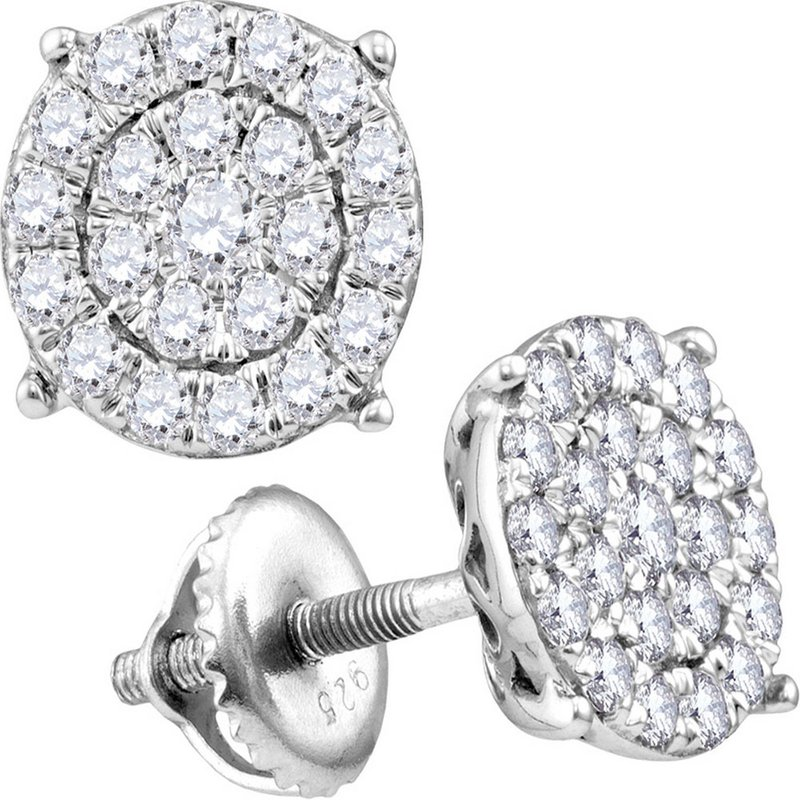 Gold-N-Diamonds, Inc. (Atlanta) 14kt White Gold Womens Round Diamond Cindy's Dream Cluster Earrings 1-1/2 Cttw