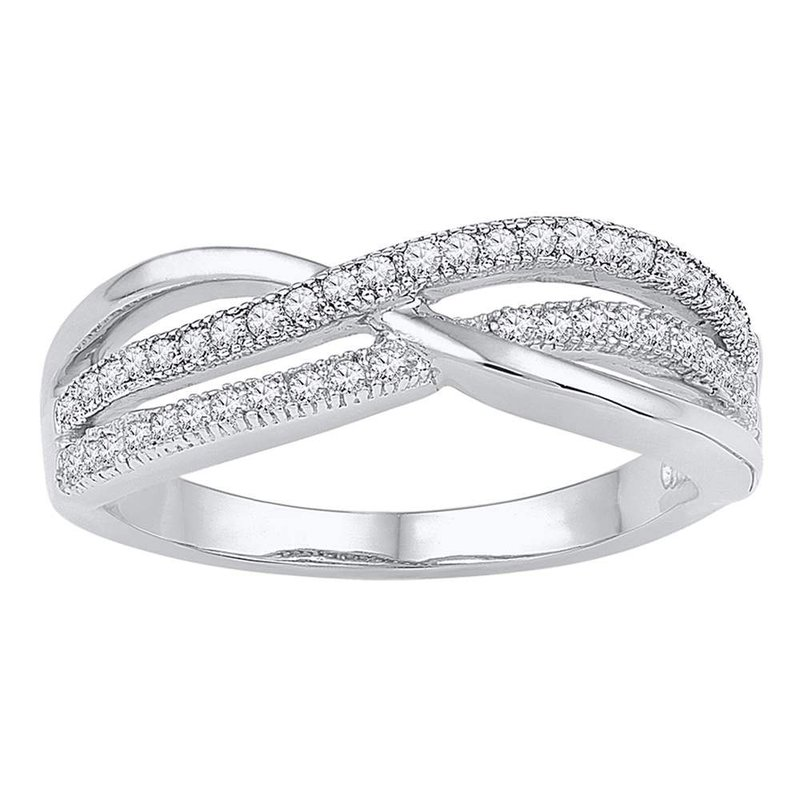 Gold-N-Diamonds 10kt White Gold Womens Round Diamond Crossover Band Ring 1/5 Cttw