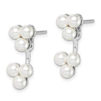 Sterling Silver Rhodium-plated Imitation Pearl Front/Back Post Earrings
