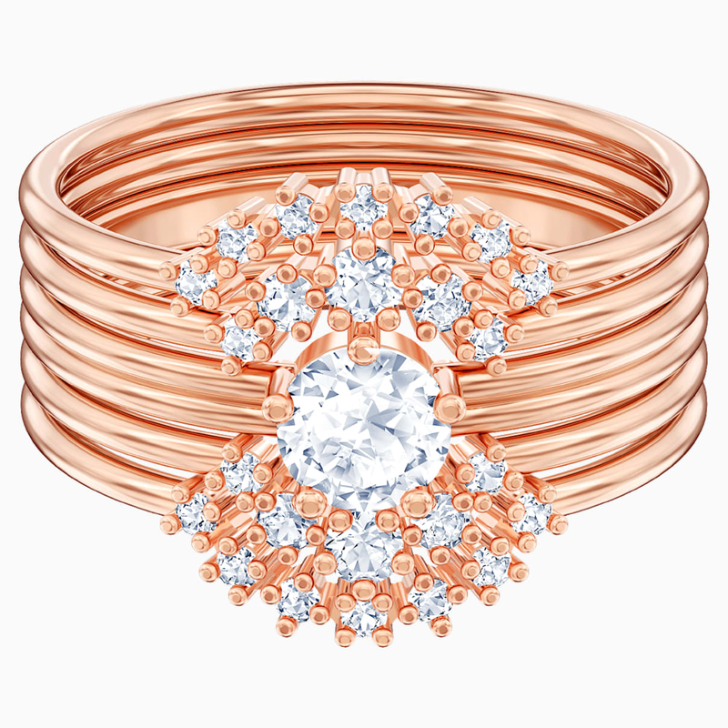 Swarovski Penélope Cruz Moonsun Stacking Ring, White, Rose-gold tone plated
