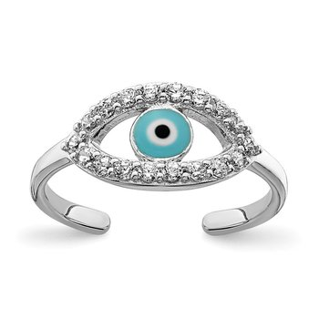 Sterling Silver Rhodium-plated Enameled & CZ Eye Toe Ring