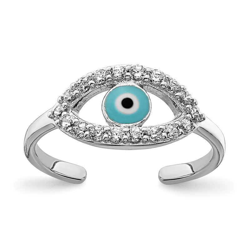 Quality Gold Sterling Silver Rhodium-plated Enameled & CZ Eye Toe Ring