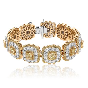 Flowering Halo Two Tone Diamond Bracelet