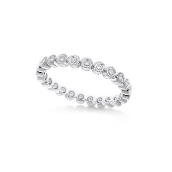 Diamond Stack Ring in 14K White Gold with 24 Diamonds Weighing .17ct tw