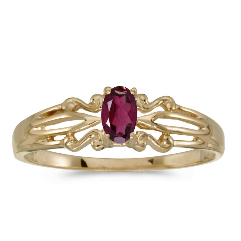 Color Merchants 10k Yellow Gold Oval Rhodolite Garnet Ring