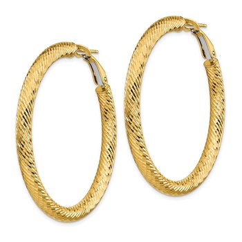 14k 4x35mm Diamond-cut Round Omega Back Hoop Earrings