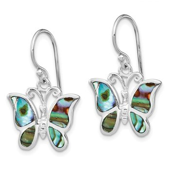 Sterling Silver Rhodium-plated Abalone Butterfly Dangle Earrings
