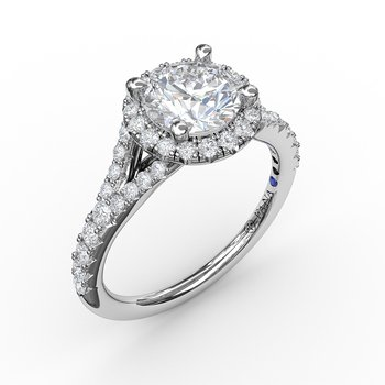 Classic Diamond Halo Engagement Ring with a Subtle Split Band