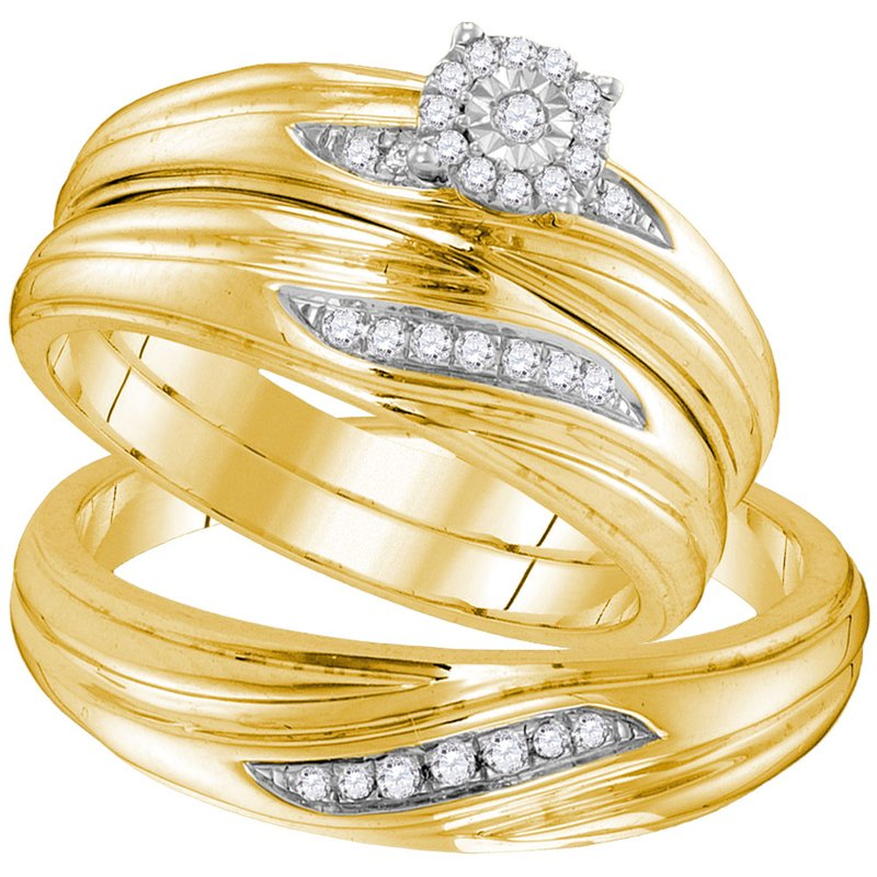 Gold-N-Diamonds, Inc. (Atlanta) Yellow-tone Sterling Silver His & Hers Round Diamond Solitaire Matching Bridal Wedding Ring Band Set 1/5 Cttw