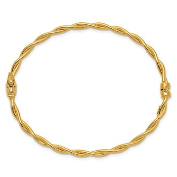 14K Yellow Gold Twisted Hinged Bangle