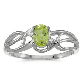 14k White Gold Oval Peridot And Diamond Curve Ring