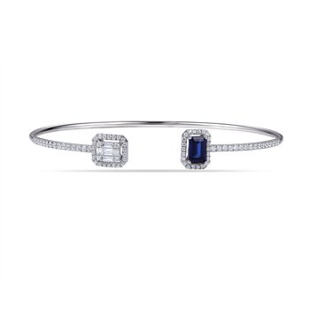14K Delicate Bangle 75 Diamonds 0.59C & 1 Sapphire 0.68C