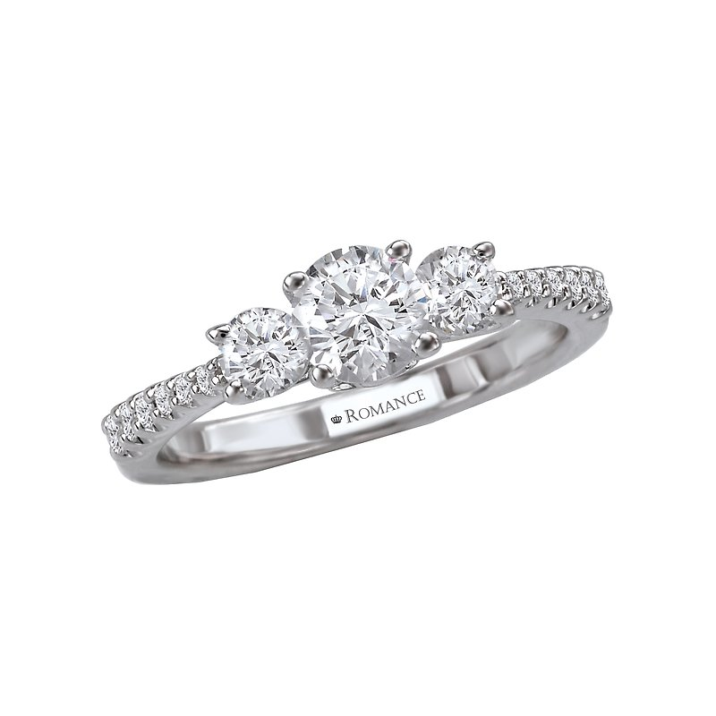 Romance 3-Stone Semi-Mount Ring
