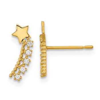14k Madi K Kids CZ Shooting Star Post Earrings