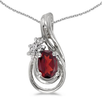 14k White Gold Oval Garnet And Diamond Teardrop Pendant