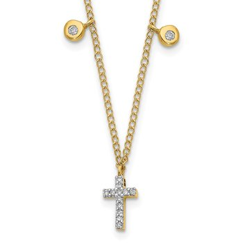 14k Diamond Cross 18 inch Necklace
