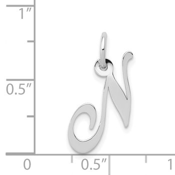 14k White Gold Small Fancy Script Letter N Initial Charm
