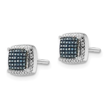 Sterling Silver Rhod Plated Blue Dia Square Screwback Earrings