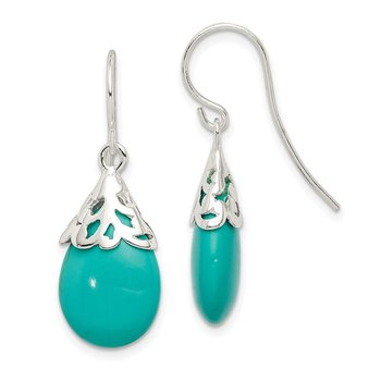 Sterling Silver Polished Synthetic Turquoise Shepherd Hook Earrings