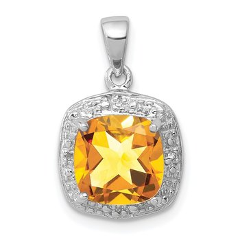 Sterling Silver Rhodium Citrine & Diamond Pendant
