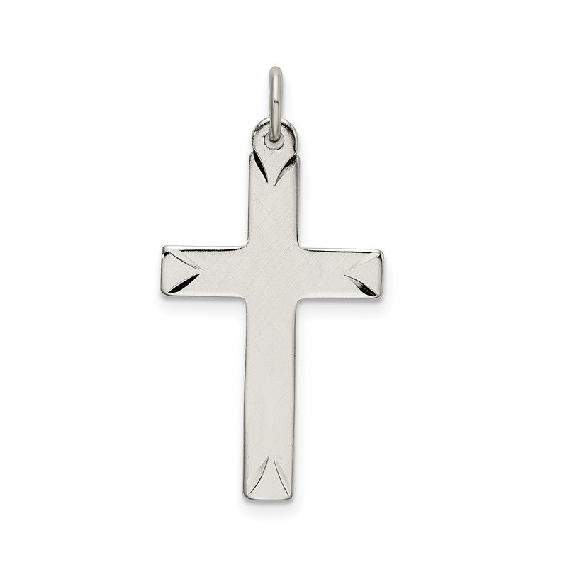 Quality Gold Sterling Silver Satin and D/C Cross Pendant