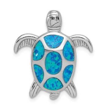 Sterling Silver Rhodium Created Blue Opal Turtle Slide