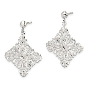 Sterling Silver Diamond Cut Square Post Dangle Earrings