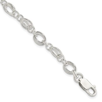 Sterling Silver Polished and Textured 5.5mm Fancy Bracelet
